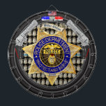 """Personalized American Service Police Edition Dart Board<br><div class=""""desc"""">Not today bad guys! The perfect dartboard for police officers and for anyone in law enforcement. Features a custom police badge with customizable text and badge number. Simply change out the, &quot;POLICE, &quot; font with your family, city, or business name. You can also change the number on the bottom of...</div>"""