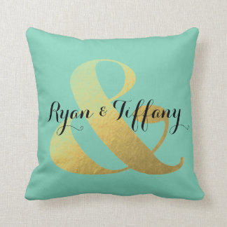 Personalized Ampersand Gold Foil Throw Pillow