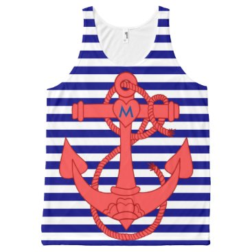 Beach Themed Personalized Anchor and stripes monogram All-Over-Print Tank Top