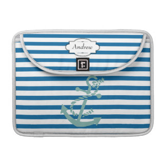 Personalized Anchor Blue and White Stripe Sleeves For MacBooks
