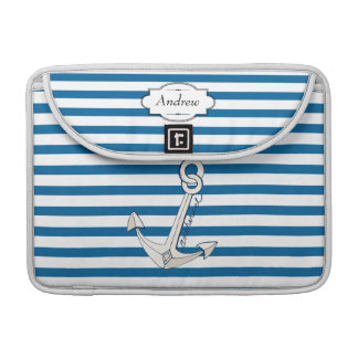 Personalized Anchor Blue and White Stripe MacBook Pro Sleeve