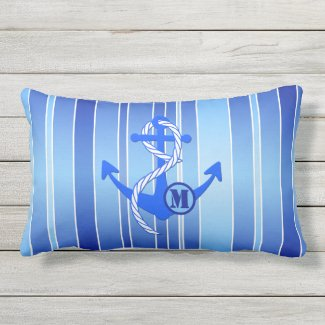 Personalized Anchor Blue Striped Nautical Pillow