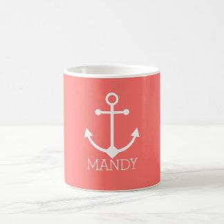 Personalized anchor coffee mug