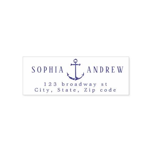 Personalized anchor nautical wedding  address self_inking stamp
