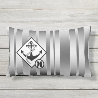 Personalized Anchor Silver Striped Nautical Pillow