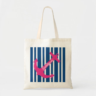 Personalized Anchor Stripe Tote Bag