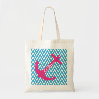 Personalized Anchor & Turquoise Chevron Tote Bag