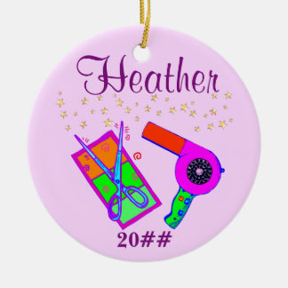 PERSONALIZED AND DATED HAIR STYLIST ORNAMENT
