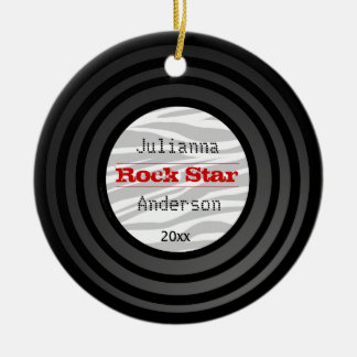 Personalized And Dated Retro Vinyl Keepsake Christmas Tree Ornaments