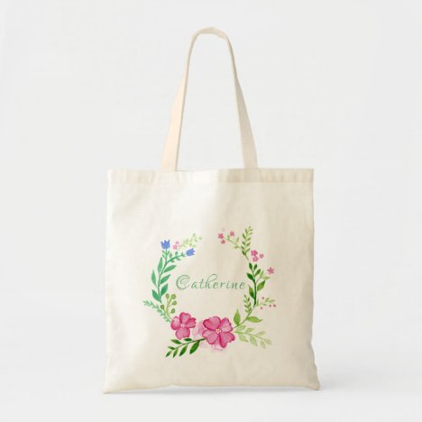 Personalized and  Feminine Watercolor Flowers Tote Bag