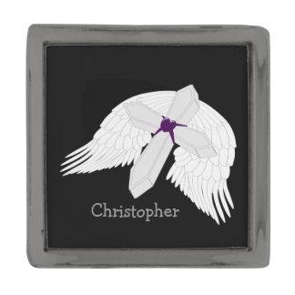 Personalized Angel Wings Cross Gunmetal Finish Lapel Pin