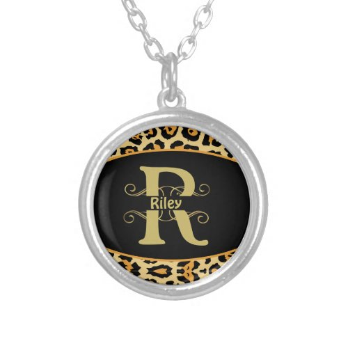 Personalized Animal Leopard Cheetah Print Silver Plated Necklace
