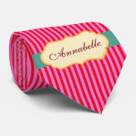 Personalized Annabelle Teal Candy Stripes Pattern Tie