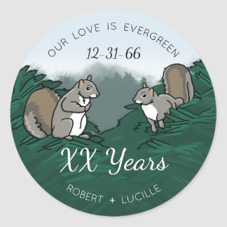 Personalized Anniversary Evergreen Love Squirrels Classic Round Sticker
