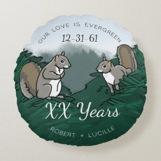 Personalized Anniversary Evergreen Love Squirrels Round Pillow