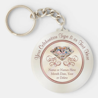 Personalized Anniversary Party Favors or Wedding Keychain