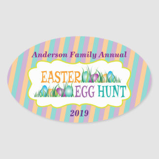 Personalized Annual Easter Egg Hunt, Colorful Eggs Oval Sticker