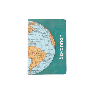 Personalized Antique Map Passport Holder