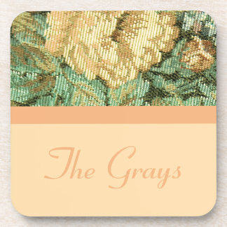 Personalized Antique Vintage Floral Rose Tapestry Coaster