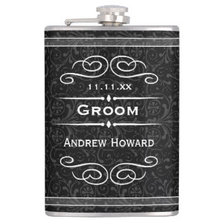 Personalized Any Color Vintage Groom Wedding Date Hip Flask