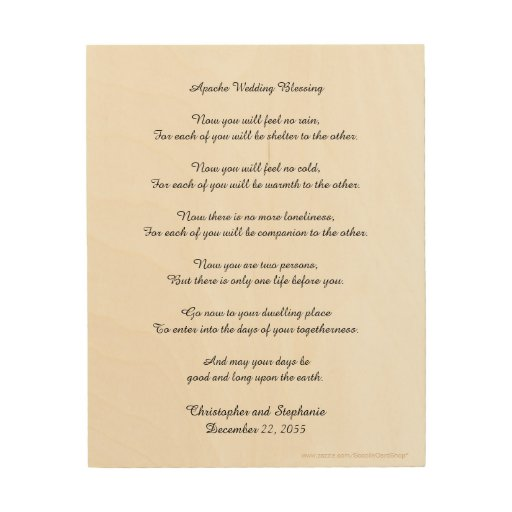 Apache Wedding Blessing: Personalized Apache Wedding Blessing Wood Wall Art