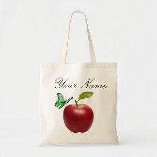 Personalized APPLE and BUTTERFLY Tote Bag