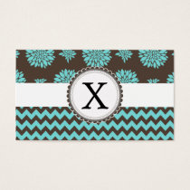 Personalized Aqua and brown Flowers Zigzag Business Card