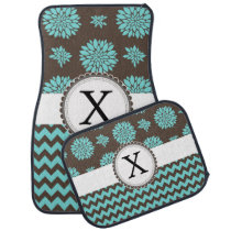 Personalized Aqua and brown Flowers Zigzag Car Floor Mat