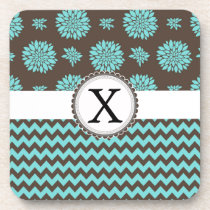 Personalized Aqua and brown Flowers Zigzag Drink Coaster
