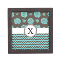 Personalized Aqua and brown Flowers Zigzag Jewelry Box