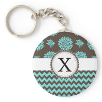 Personalized Aqua and brown Flowers Zigzag Keychain