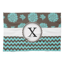 Personalized Aqua and brown Flowers Zigzag Kitchen Towel