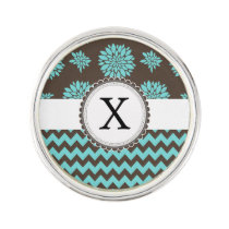 Personalized Aqua and brown Flowers Zigzag Lapel Pin