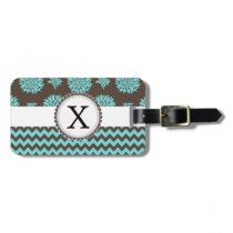 Personalized Aqua and brown Flowers Zigzag Luggage Tag