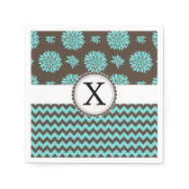 Personalized Aqua and brown Flowers Zigzag Paper Napkin