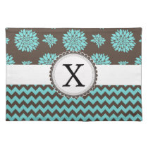 Personalized Aqua and brown Flowers Zigzag Placemat