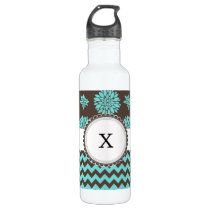 Personalized Aqua and brown Flowers Zigzag Stainless Steel Water Bottle