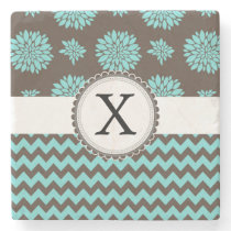 Personalized Aqua and brown Flowers Zigzag Stone Coaster