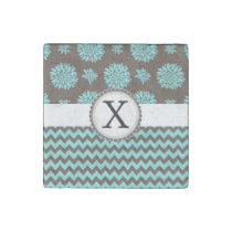 Personalized Aqua and brown Flowers Zigzag Stone Magnet