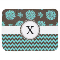 Personalized Aqua and brown Flowers Zigzag Swaddle Blanket