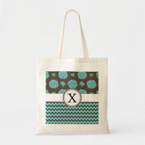 Personalized Aqua and brown Flowers Zigzag Tote Bag