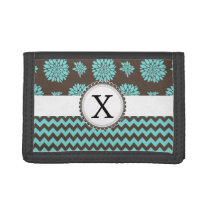 Personalized Aqua and brown Flowers Zigzag Trifold Wallets