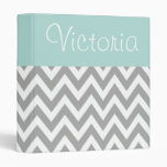 Personalized Aqua and Gray Binder
