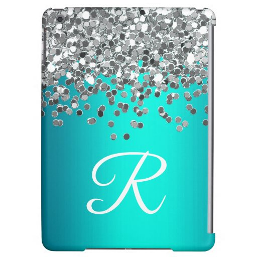 Personalized Aqua and Silver Glitter Monogram Case For iPad Air
