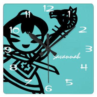 Personalized Aqua Asian Girl Vintage Drawing Clock