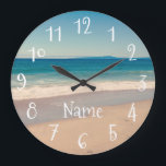 "Personalized Aqua Beach Scene Large Clock<br><div class=""desc"">Tinted photo of a beach scene along Monterrey Bay,  California with a pretty turquoise band and quirky,  cute white numbers and personalized text. Create your own wall clock with a Cali theme.</div>"