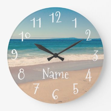 Beach Themed Personalized Aqua Beach Scene Large Clock