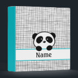 """Personalized Aqua Black Panda School Binder<br><div class=""""desc"""">This modern and trendy back to school binder has a cute aqua blue,  black and white panda design and the name,  subject or text of your choice.</div>"""