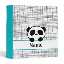 Personalized Aqua Black Panda School Binder