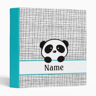 Personalized Aqua Black Panda School Binder